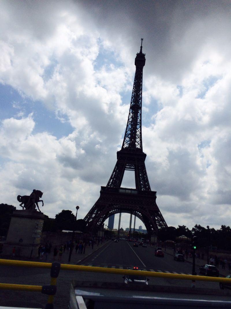 Paris bus eiffel tower up close